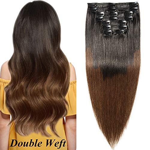 Extension clip capelli veri volumizzante ombre - double weft 100% remy human hair naturali 8 fasce 140g 45cm #1bt4 nero naturale ombre marrone medio