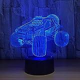 3D LED Lampe d'illusion Grand véhicule de ski de fond Lampe nuit Optique Décoration...