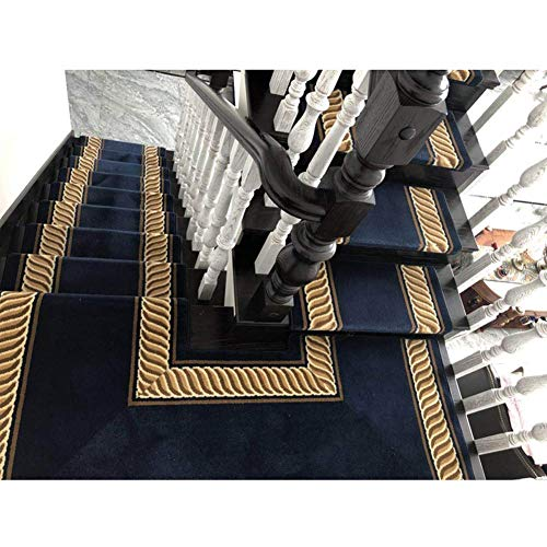 J.DT Stufenmatten Treppen-Teppich Läufer Stufenmatten Treppen-Teppich Selbstklebend Anti-Rutsch 2 Größen 2 Stil Blau Europäischer Klassiker (Color : Rectangle, Size : 10PCS65x24CM) (Läufer-gummi Treppe)