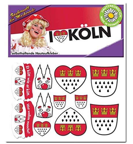 Hautaufkleber Köln Accessoire Köln Tattoo Aufkleber Körperschmuck Wappen Dom Party Kölner Straßenkarneval Festumzug Karneval Kölle Alaaf (Köln Karneval Kostüm)