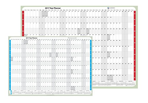 Economy 2017 Laminated Wall Planner, Good Quality, Modern design by Plannerworld (A1 Blue) Test