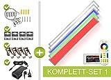 LongLife LED GmbH by HK - Pannello LED RGB+CCT, 120 x 15 cm, 36 W, 24 V, colori RGB, tonalità pastello e temperatura di colore di 2700 K-6000 K, regolabile, dimmerabile, con telecomando, supporto da parete e soffitto, cavo di sospensione e morsetti