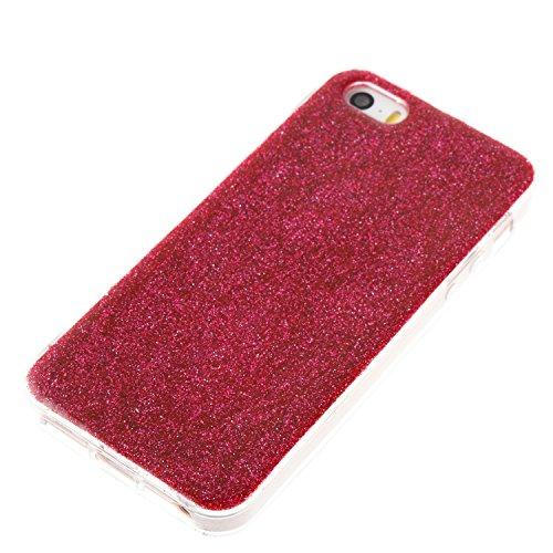 Custodia iphone SE/5/5s, iphone SE/5/5s Cover, iphone SE/5/5s Custodia Silicone,Cozy Hut Case Cover per iphone SE/5/5s, Shiny Sparkly Bling Bling Glitter Conchiglia Caso Guscio Sottile TPU Silicone Ge Rosa rossa
