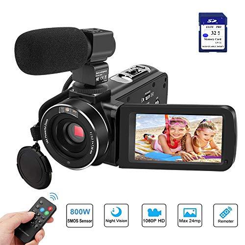 eoKamera FHD 1080P 24MP 3''LCD-Touchscreen IR Nachtsicht Digitalkamera 16X-Digitalzoom Vlogging Kamera Recorder mit externem Mikrofon Fernbedienung und 32GB SD Karte, 2 Batterien ()