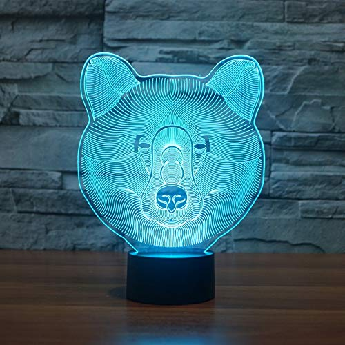 Lindo lindo oso colores 3D luz nocturna enviar niños