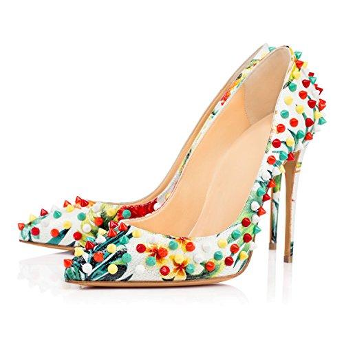 uBeauty - Scarpe da Donna - Scarpe con Rivetto - Scarpe col Tacco - Punta Indicati Multicolore