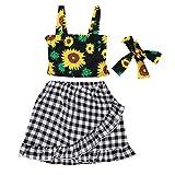 ♣ Tianya - Trägershirt mit Blumenmuster und gerüschtem Rock und Schleife mit Haarband Outfits für Kids Baby Girl