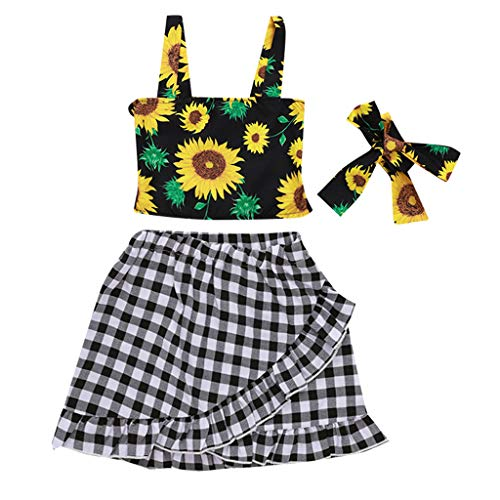 Sasstaids Säuglinge Set Kinder Baby Mädchen Blumendruck Strap Top gekräuselten Karierten Rock Bow Hair Band Outfits Top Rock Bow Outfit