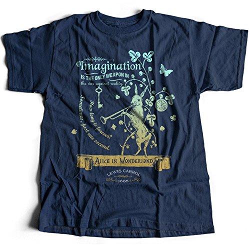 Flamentina 5016n Alice In Wonderland Mens T-Shirt Lewis Carroll White Rabbit Cheshire Cat Fantasy Children Adventures