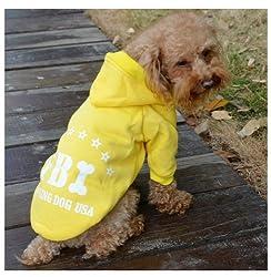 Demarkt Fashion Yellow FBI Dog Cat Puppy Fleece Hoodie Costume Clothes Pet Apparel Superdog Dress Up Pet Supplies Size X-L