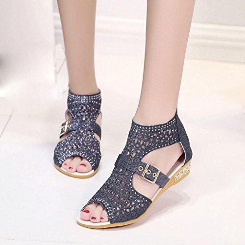 Vovotrade Femmes Wedge Sandales Mode Bouche de Poisson Pompes Sexy Hollow Out Chaussures Bohemian Noir