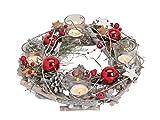 meindekoartikel Adventskranz Dekokranz dekoriert aus Holz/Kunststoff mit Teelichthalter Kugeln aus Glas Ø29xh8cm