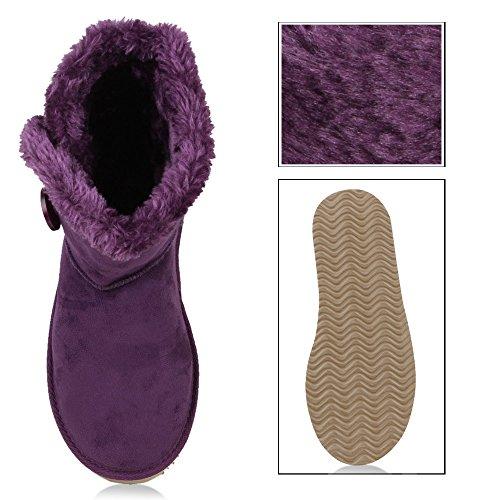 Damen Schuhe Klassische Stiefeletten Winter Boots Schlupfstiefel Lila