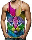 RAISEVERN Herren Tanktop Bunte Katze Tank Top Tankshirt mit Print Ärmellose T-Shirts Weste Muskelshirt S