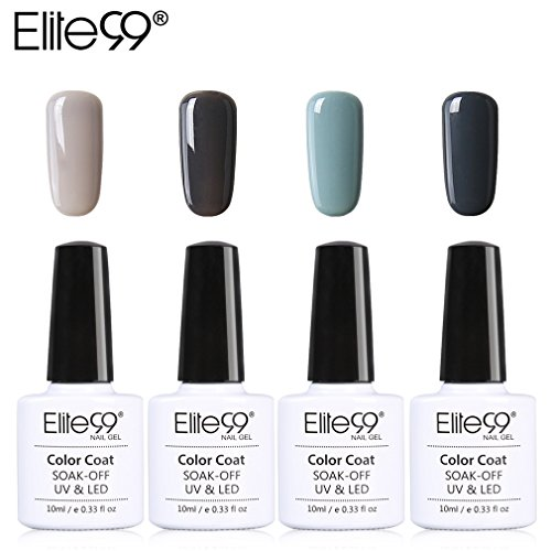 Lot Vernis Semi Permanent Elite99-4pcs Vernis à Ongles Gris UV LED Soak Off pour Kit Manucure&Nail Art 10ml-KIT09