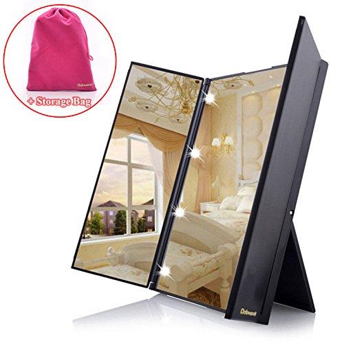Miroir cosmétique Dolovemk pliable en trois avec lumière LED intégrée, miroir de voyage, miroir de poche compact avec 8 lumières LED, 256 g et des dimensions de 15,5 x 12 cm. Batterie incluse