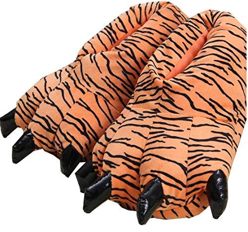 CHNMARKET Unisex Cartoon Tier Pfote warme Schuhe Hause Schuhe Plüsch Tier Pfote Schuhe (34-39 EU, Tiger-Muster)
