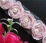 20 pcs Bordure ruban adhésif de ruban de dentelle de polyester FleurBordure Noir Blanc garnitures vintage Bordure brodée Tissu pour coudre Craft gâteau Emballage cadeau, 3,6 cm Largeur, Rose, 5cm/ 2inch