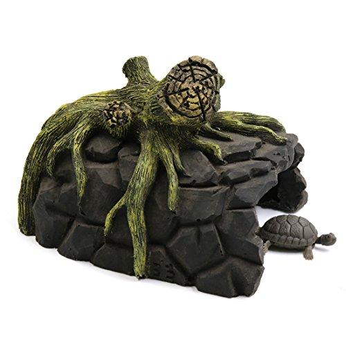 sourcingmap® Harz Baum Wurzel Design Schildkröte Höhle Stelle Schutz Ornament für Aquarium