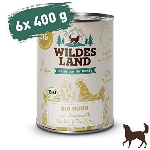 Wildes Land | Nassfutter für Hunde | Bio Huhn | 6 x 400 g |Getreidefrei & Hypoallergen | Extra hoher Fleischanteil von 60% | 100% zertifizierte Bio-Zutaten | Beste Akzeptanz und Verträglichkeit - Futter Hühner Napf
