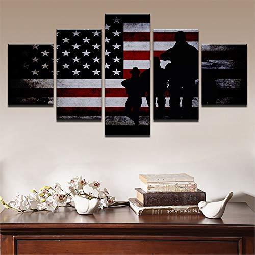 adgkitb canvas Hd Prints Decor Wandkunst 5 Stücke Modulare Rahmen Amerikanische Flagge Soldat Home Kreative Bar Verarbeitung