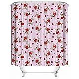 HUIYIYANG Kundenspezifischer Duschvorhang, Rote Herzen und Häschen auf Rosa Hintergrund wasserdichtem Anti Mehltau Gewebe Polyester Badezimmer Duschvorhang 66