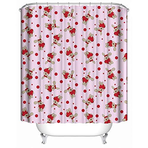 """HUIYIYANG Kundenspezifischer Duschvorhang, Rote Herzen und Häschen auf Rosa Hintergrund wasserdichtem Anti Mehltau Gewebe Polyester Badezimmer Duschvorhang 66"""" x 72""""(165x180)"""