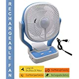 Bulfyss SpaceLife 9-Inch Premium Dual High Low Speed Rechargeable Table Fan with LED Flash Light, Multicolor