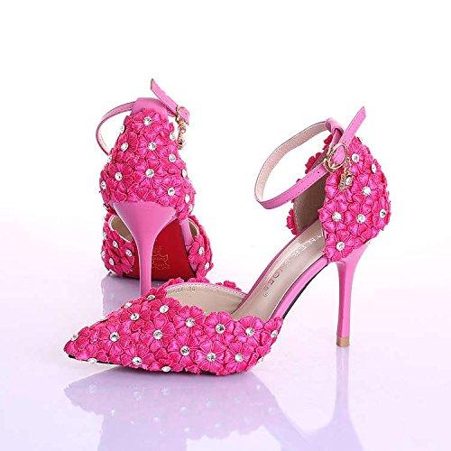 XIE Sscarpe da sposa donna / damigella d'onore e sposa / Rhinestones / Fiore / Stiletto Heel / Punta punta / Sandali con tacco alto / bianco Pink