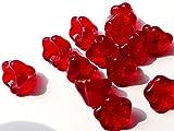 (30Pcs) X 8(mm) Taza de Bell de flor de trompeta de cristal beads–Checa rojo rubí–C010