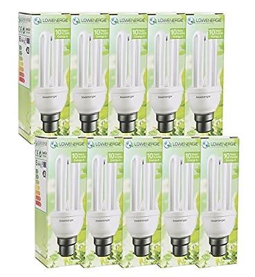 (10 Pack) 11W (=60W) Energy Saving CFL Light Bulbs, B22 B22d BC Bayonet Cap, Stick, 10 Years by Lowenergie