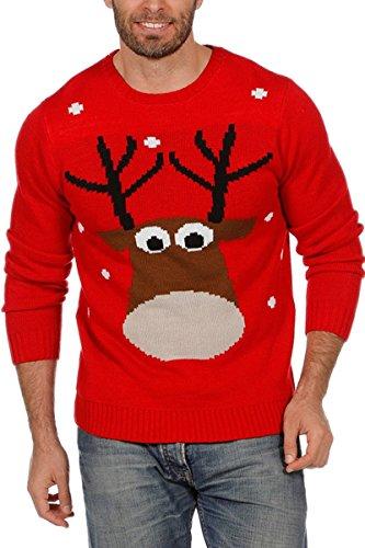Weihnachtspullover Rentier Ugly Christmas Sweater Pullover Weihnachten Rot M