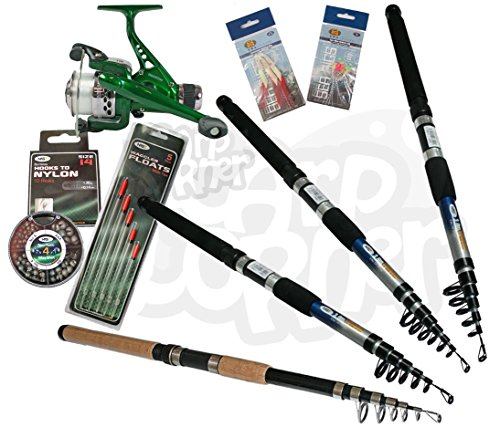 Carp Coarse & Sea Travel Fishing Rod & Reel Set up With Fishing Tackle Floats Shots Hooks And Feathers Fishing Rod 6, 8, 10 or 12ft Test
