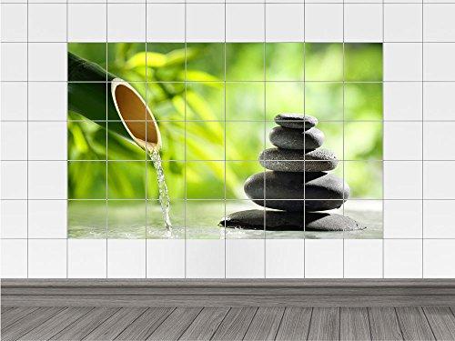 Piastrelle adesive per bagno con immagine wellness e bambù bambù