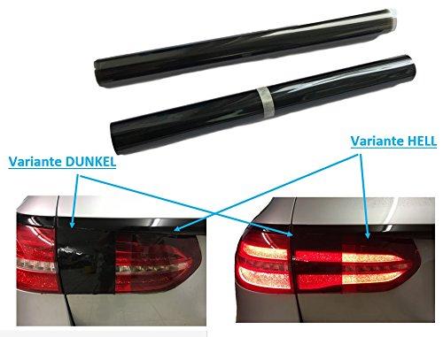 120x30cm SCHEINWERFER FOLIE - Hell oder Dunkel Schwarz für Auto PWK KFZ Fahrzeug - auch Rückleuchten/Rücklichter - SELBSTKLEBEND - Lichtdurchlässigkeit - Premium Qualität (DUNKEL-Schwarz)