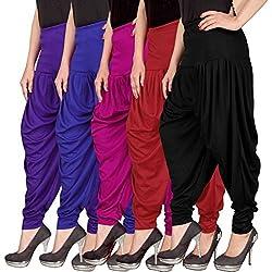 Navyataa Womens Lycra Dhoti Pants For Women Patiyala Dhoti Lycra Salwar Pant Free Size (Pack Of 5)(Voilet,Blue,Magenta,Red,Black)