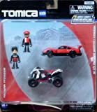 Tomica Hypercity Rescue 2 Pack Nissan Hasemi Ebbro Gt R Red & Yamaha Yfz450 R Atv White/Black With 2 Figurines