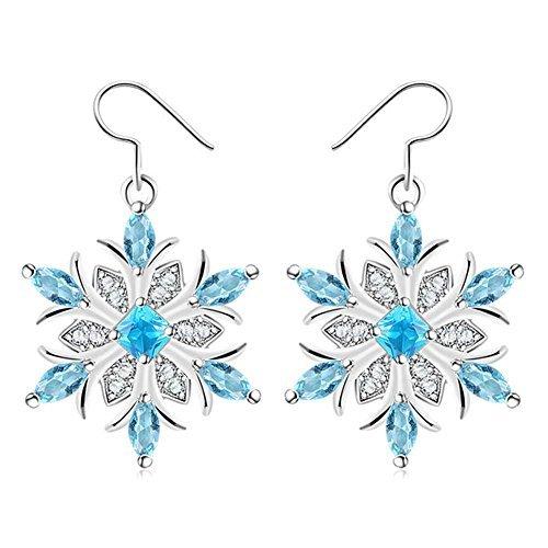 Domybest Diamant Crystal White Gold Schneeflocke baumeln Ohrringe Schmuck Geschenk für Wome