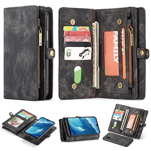 Simicoo Huawei P30 Pro Leder Wallet Schutzhülle 11 Kartenfächer Reißverschluss Abnehmbare Brieftasche Magnetverschluss Robuste Filp Tasche Handyhülle für P30 Pro (Black) - Leder Taschen Business Card Case