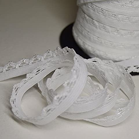 Picot élastique blanc, largeur 1cm - Elastique lingerie (Par 10 mètres)