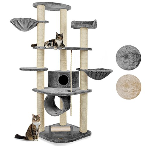 happypet® Kratzbaum für Katzen groß 186 cm hoch, CAT021 Kletterbaum Katzenbaum, stabile extra dicke Säulen mit Sisal ca. 11cm, Haus, Höhle, Spieltunnel, große Liegemulden, Spiel-Seil, Kratzrolle, GRAU