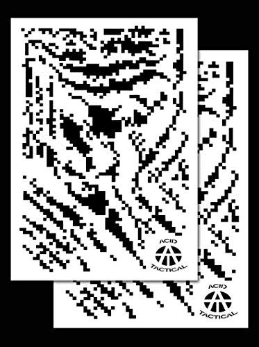 Ácido táctica , 2unidades–23x 35cm individual diseño de camuflaje aerógrafo pistola de spray de pintura plantillas–Duracoat (Digital de tigre)