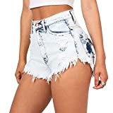 iBaste Jeanshose Shorts Damen High Waist Denim Shorts Kurze Hose Mini Hotpants Damen Jeans Hose-BU-M