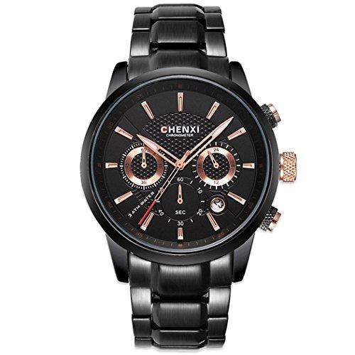 WLH Männer Neue Uhren Mann Business Edelstahl Quarzuhr Mode Multifunktions Military Uhr Relogio Masculino Geschenk,Black (Männer Neue Tester)
