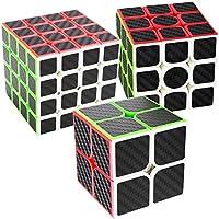 COOJA Cube Pack 2x2 3x3 4x4, Speed Cube Fibra Carbono Cubo Velocidad Puzzle Cubos Juegos Inteligencia