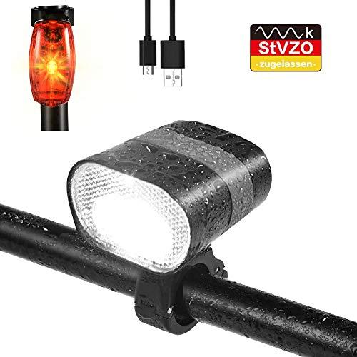 careslong LED Fahrradlicht Set, fahrradlicht led Set USB 680 Lumen IPX6 USB Wiederaufladbare Fahrradbeleuchtung, Das Rücklicht dient zum Laden des Akkus, StVZO Zugelassen für Fahrrad