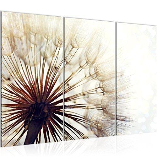 Bilder Blumen Pusteblume Wandbild 120 x 80 cm - 3 Teilig Vlies - Leinwand Bild XXL Format Wandbilder Wohnzimmer Wohnung Deko Kunstdrucke Beige - MADE IN GERMANY - Fertig zum Aufhängen 012231a