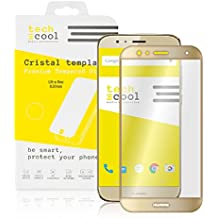 """Huawei G8 Protector de Pantalla I TechCool® Cristal Templado para Huawei G8 """"Pantalla Completa"""" Marco Dorado [Cubre el Borde Biselado] I Vidrio Templado, Sin burbujas, HD, Dureza 9H -Kit de instalación incluido"""
