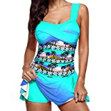 TWIFER Frauen Bikini Set Plus Größe Tankini Set Boy Shorts Dot Gepolsterte Damen Push Up Swimdress Beachwear Badeanzug S-5XL (5XL/52, Z-Blau)