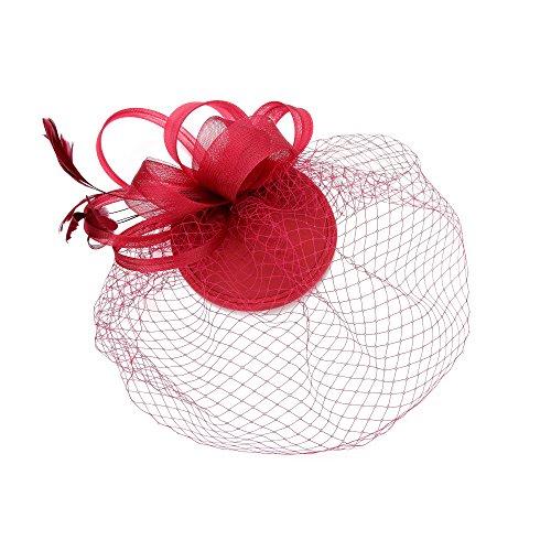 Feather Fascinator Schleier Net Schleife Blume Hut Clip Haarschmuck Hochzeit Prom